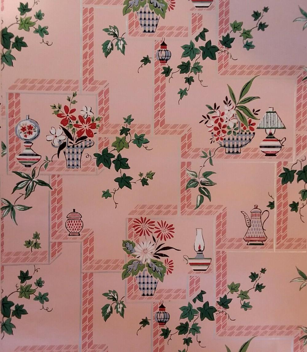 1950s Vintage Wallpaper Mid Century Pink Kitchen Floral Pattern One Roll Ebay In 2020 Vintage Wallpaper Pink Kitchen Pink Kitchen Wallpaper