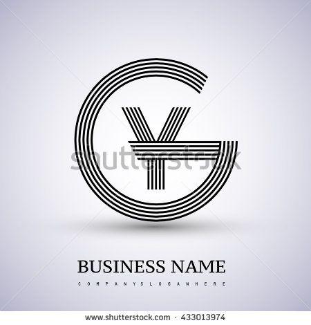Letter GY or YG linked logo design circle G shape. Elegant black colored letter symbol. Vector logo design template elements for company identity. - stock vector