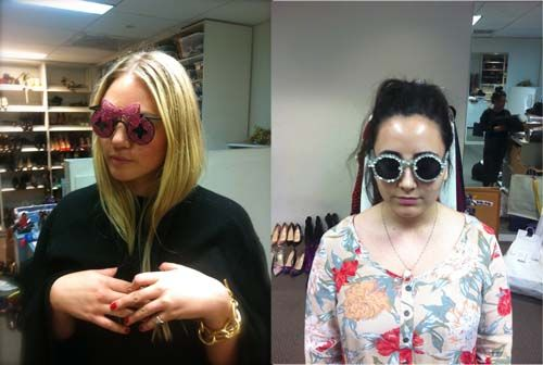 5/2, 1:15 PM: Fashion assistants Brooke and Mollie trying on some offbeat sunnies for an eyewear shoot #makingsept