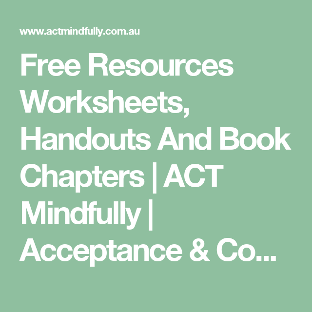 Free Resources Worksheets Handouts And Book Chapters