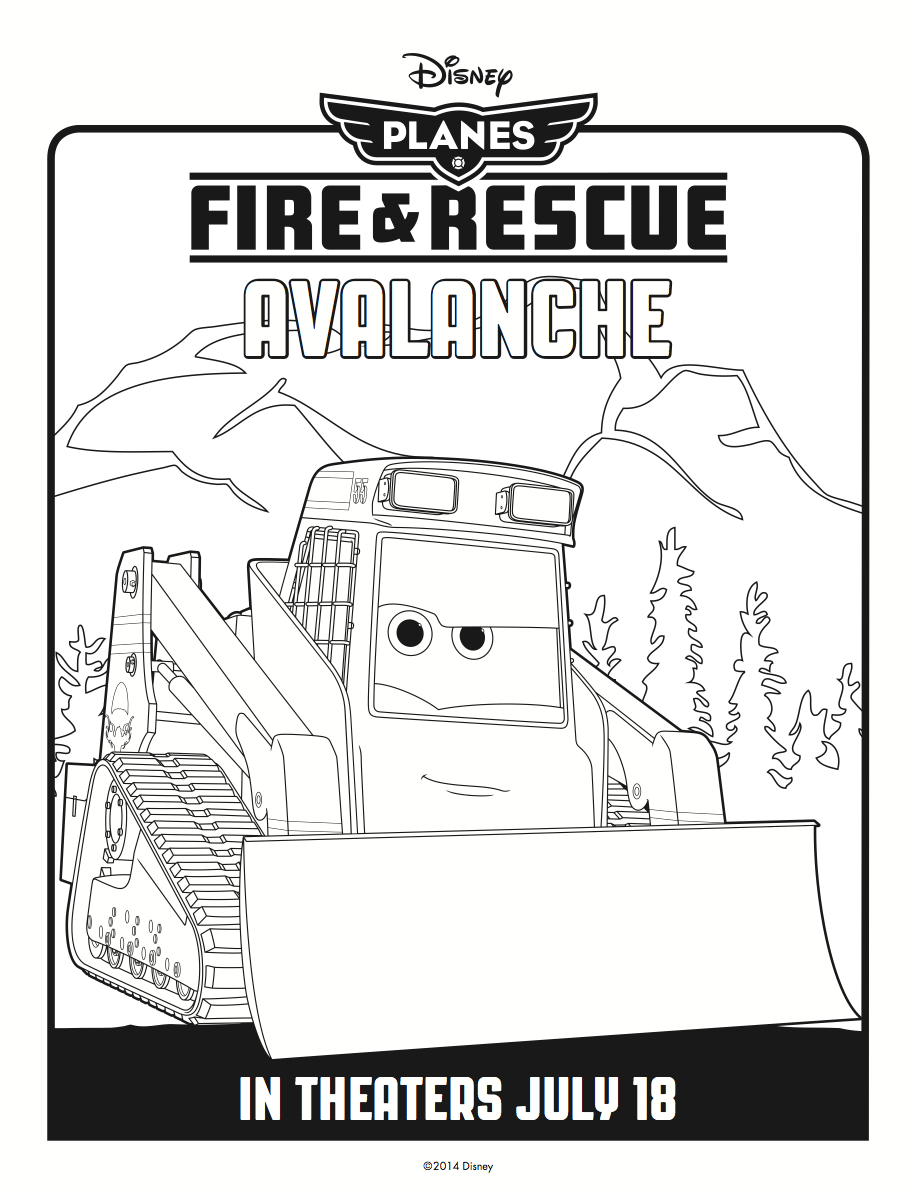 Avalanche Coloring Page Disney S Planes Fire Rescue Coloring
