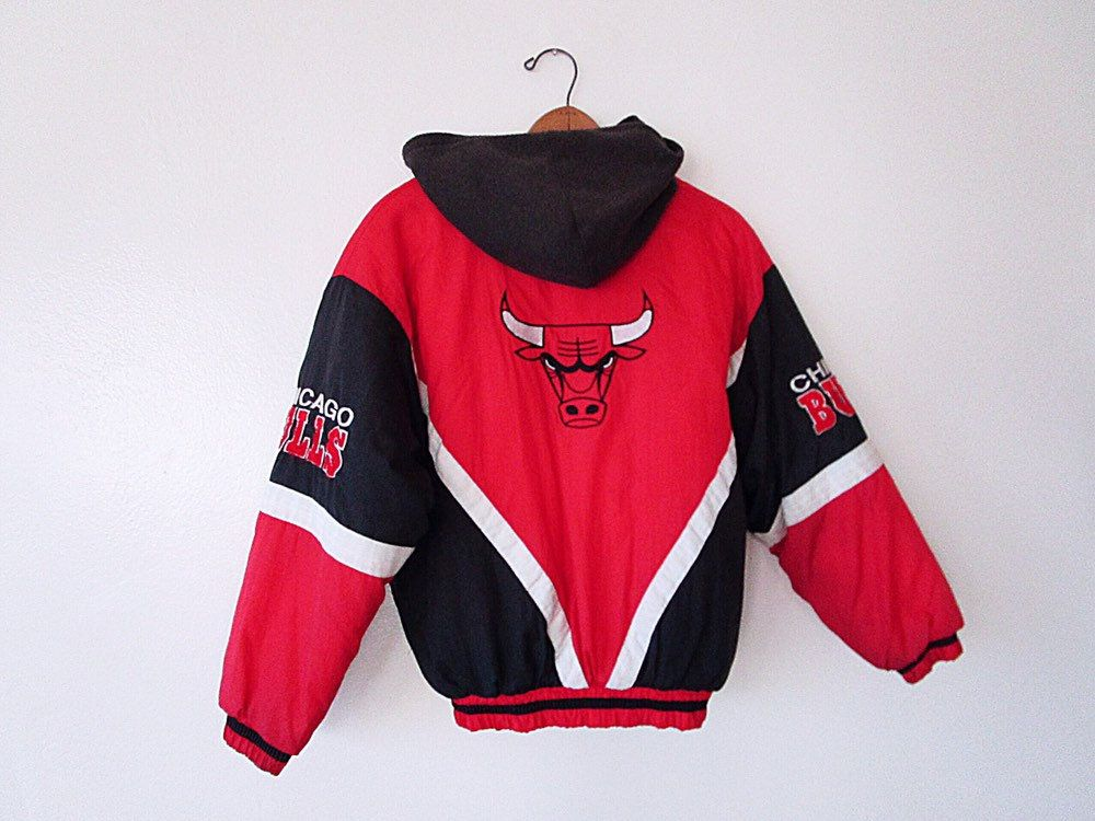 Vintage 90 S Chicago Bulls Mighty Mac Hooded Basketball Kids Jacket Jackets Puffer Jackets