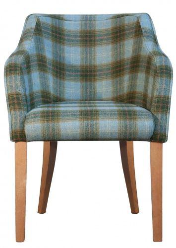 Milan Tartan Dining Chair Tartan Fabric Carver Chairs - Carver dining chairs
