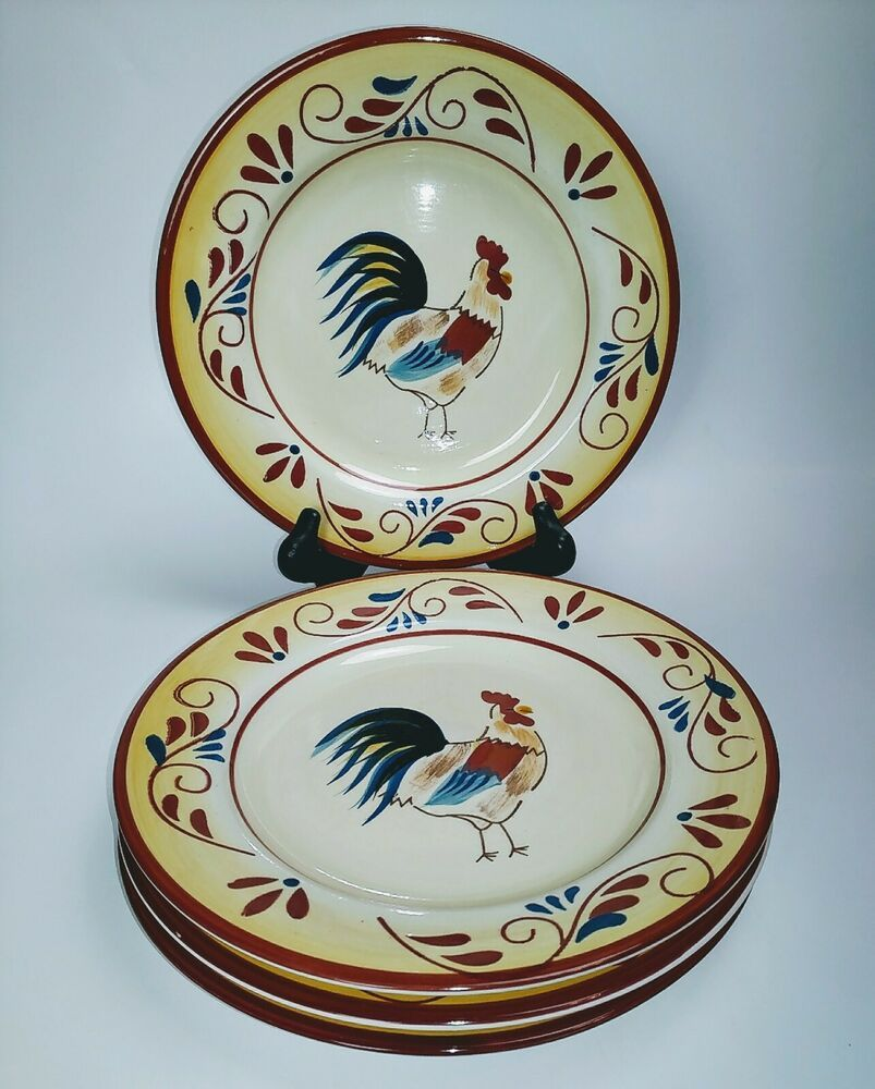 Hd designs country rooster salad dessert plates 9 set of