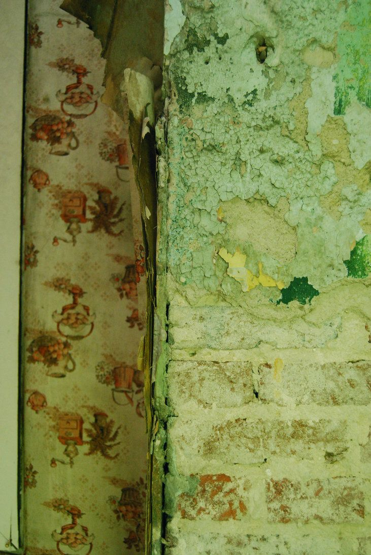 Peeling Wallpaper And Green Bricks Peeling Wallpaper Vintage