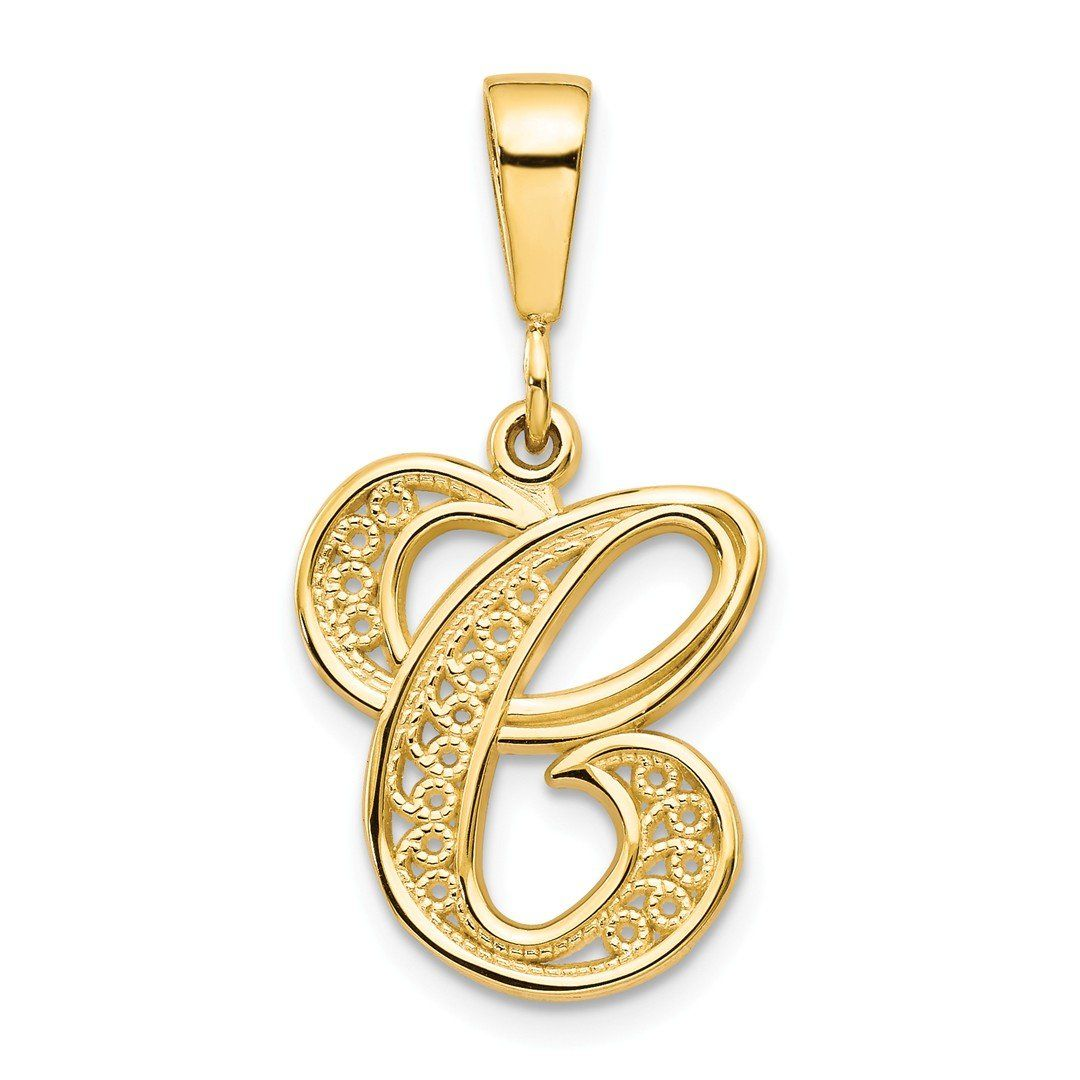 14k Yellow Gold Initial Monogram Name Letter C Pendant Charm Necklace Fine Jewelry Gifts For Women For Her