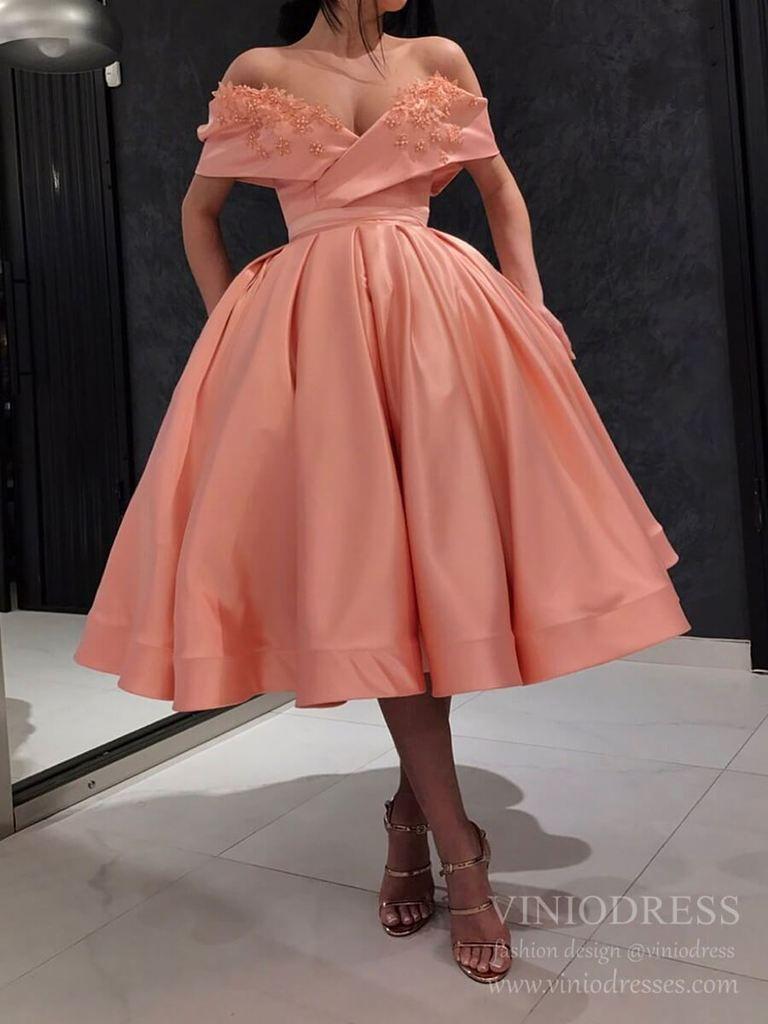 Off The Shoulder Peach Midi Length Prom Dresses With Pockets Sd1288b Prom Dresses With Pockets Cocktail Dress Lace Red Lace Cocktail Dress [ 1024 x 768 Pixel ]