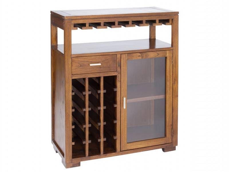 Mueble bar con botellero y barra estilo colonial mueble
