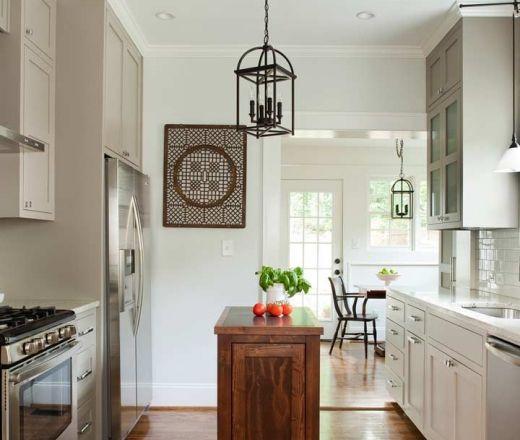 Small Galley Kitchen Floor Plans: Transitional Island Style Kitchen