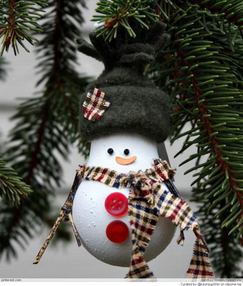 Snowman Christmas Tree Ornament made from