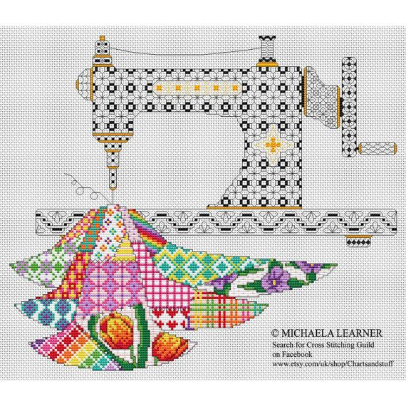 Patchwork Sewing Machine Cross Stitch Instant Download PDF | Cross ...