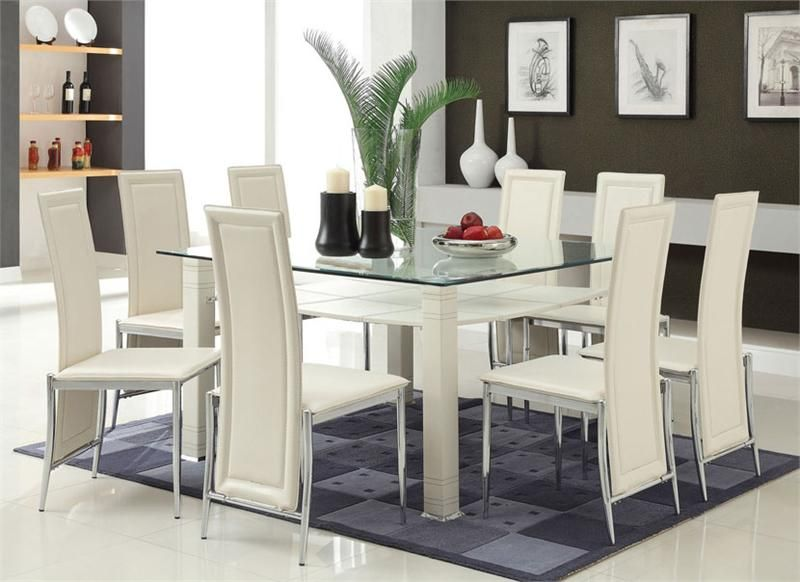 Modern Cream Chrome Glass Dining Table W Six Chairs Glass Dining Room Sets Contemporary Dining Table Modern Kitchen Tables