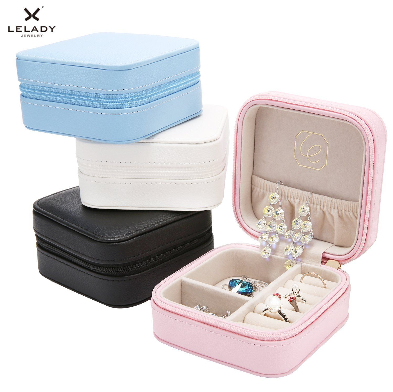 Mini Portable Travel Jewelry Box Leather Jewellery Ring Organizer Case Storage