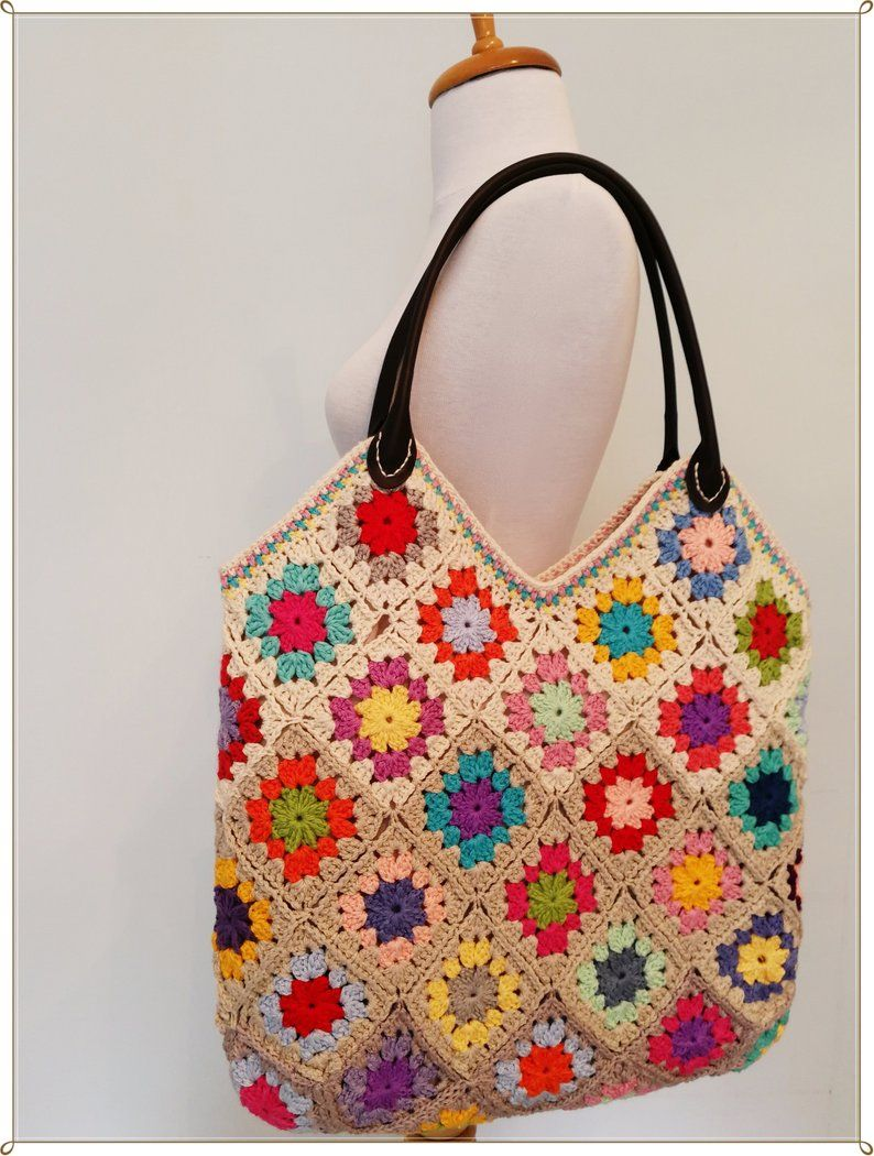 Crochet Bag, Granny Square Bag, Summer Bag, Tote Bag, Crochet Purse, Boho Bag, Gift for Her, Vintage Style, Hippie Style, Retro Style, Gift