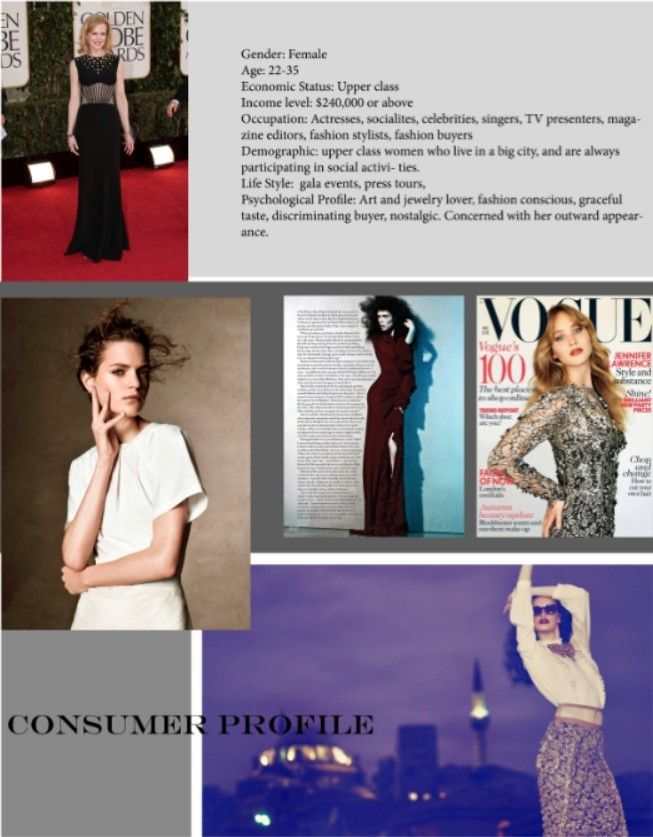 Consumer Profile Fashion Design Portfolio Fashion Stylist Fashion Marketing