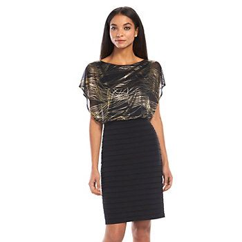 Chaya Foil Pintuck Blouson Dress