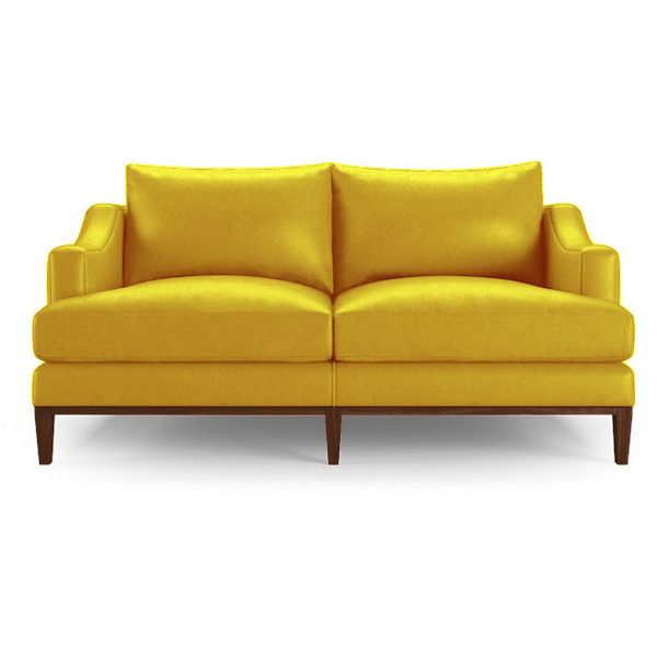 Leather Sofa Joybird Price Mid Century Modern Yellow Leather Apartment Sofa RSD liked on Polyvore featuring home furniture sofas yellow midcentury modern