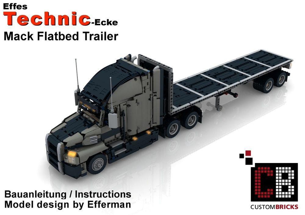 Custom Mack Flatbed Trailer By Custombricks De Https Rebrickable Com Mocs Moc 12335 Custombricks De Custom Mack Flatbed Tra Lego Technic Lego Cars Lego Truck