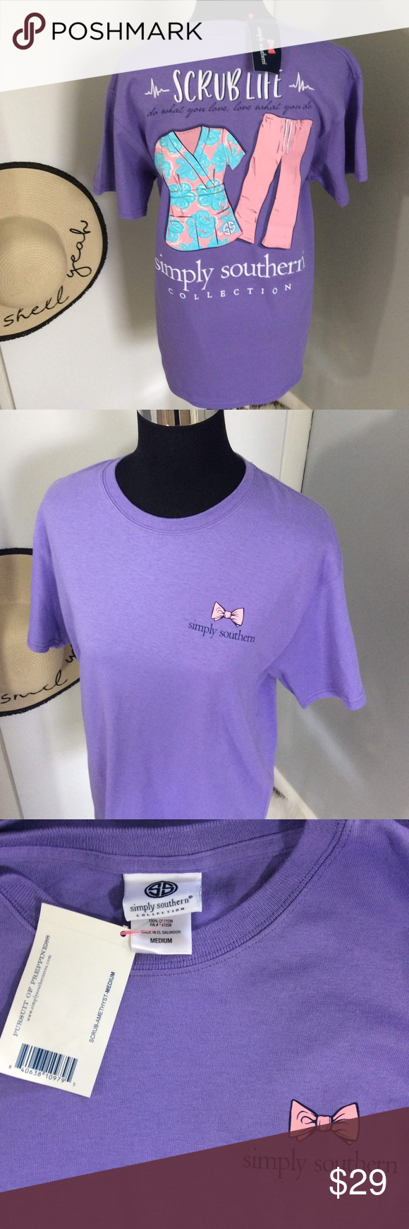 a4fd432bf36 NWT Simply Southern Scrub Life Lavender Shirt M New with Tags Simply  Southern Amethyst / Purple