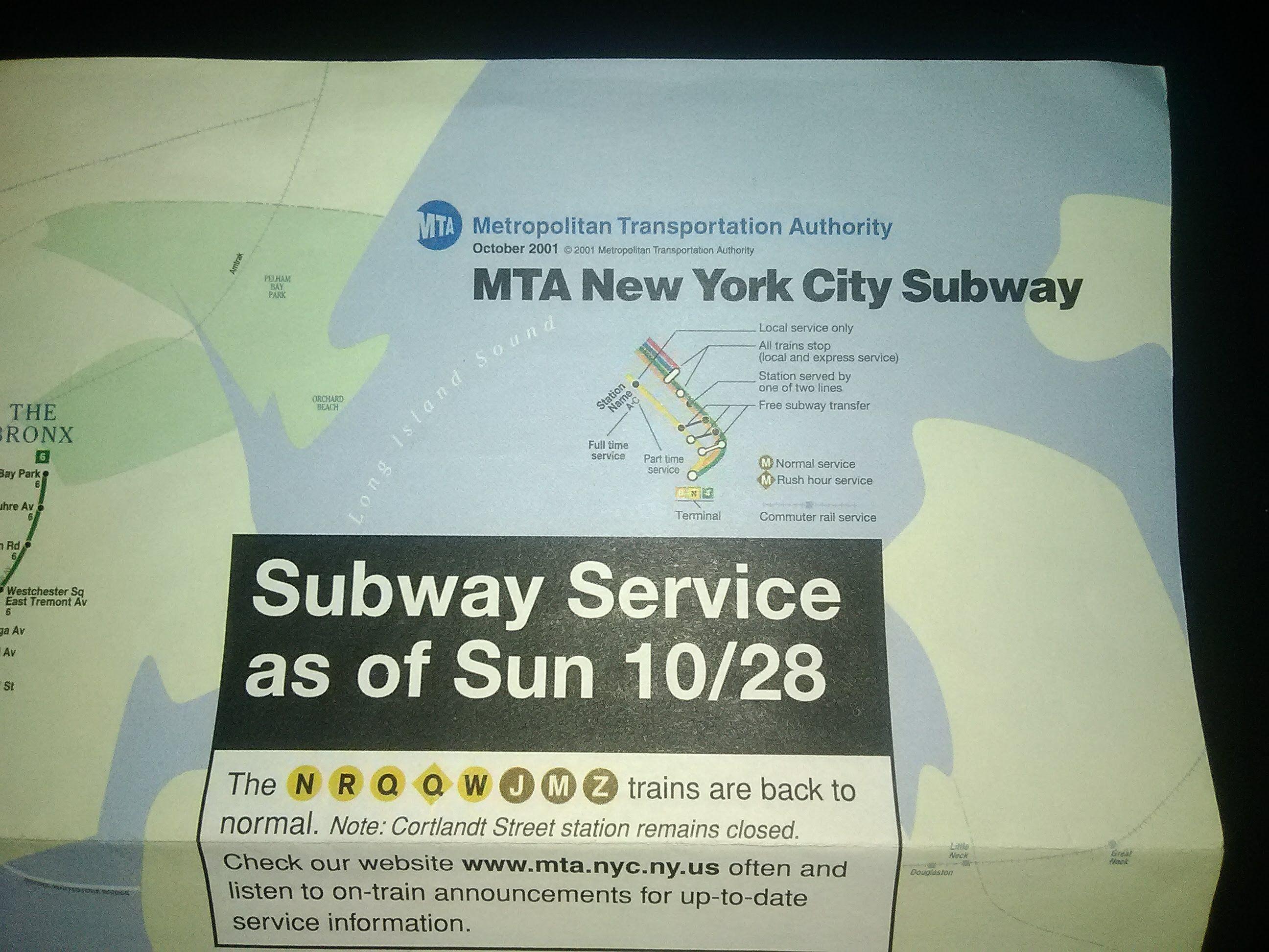 Nyc Subway Map Ebay.Details About Six Rare Maps Nyct 10 28 2001 Post 9 11 Subway Map