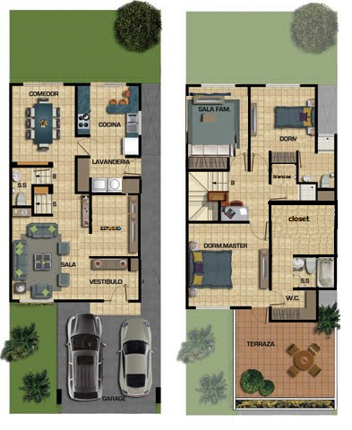 Re dise ada planos de casas house plans pinterest for Planos de casas de dos recamaras