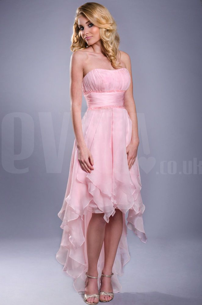 Strapless high low pink prom formal dress UK Sizes 8-22 Next Day ...