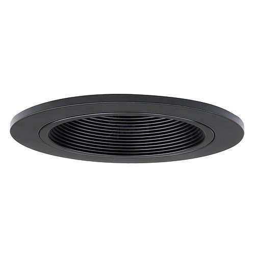 3 Low Voltage Recessed Lighting Black Stepped Baffle Black Trim