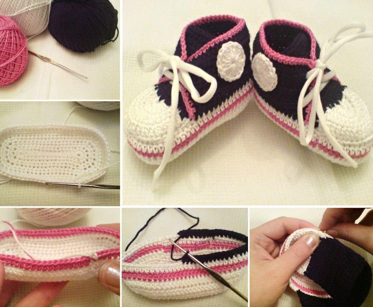 Crochet Converse Baby Booties Pattern Free | Botines para bebé de ...