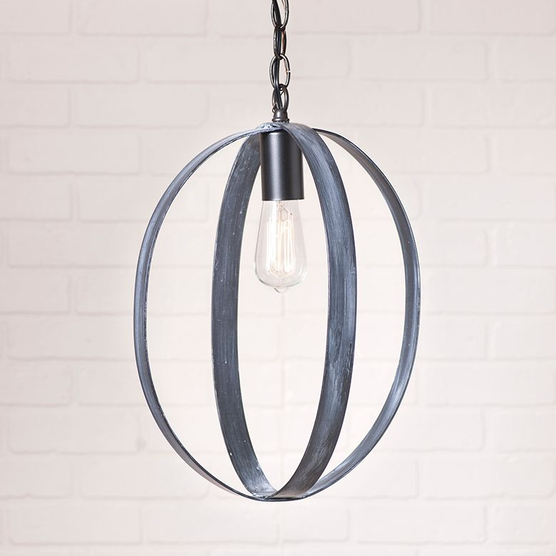 16inch oval shpere pendant in black farmhouse pendant