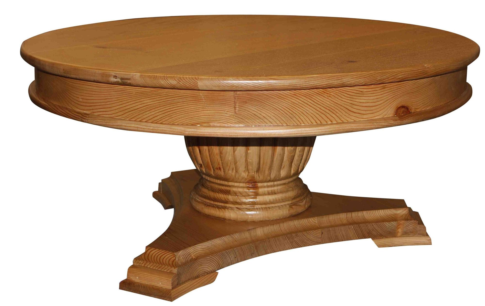 Fluted Pedestal Base Round Coffee Table Round Wood Coffee Table