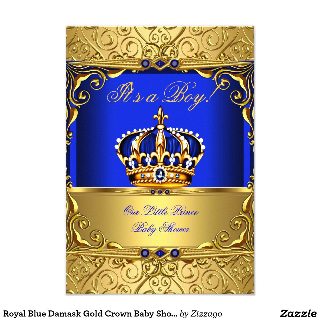 Royal Blue Damask Gold Crown Baby Shower Boy bsA 3.5x5 Paper ...