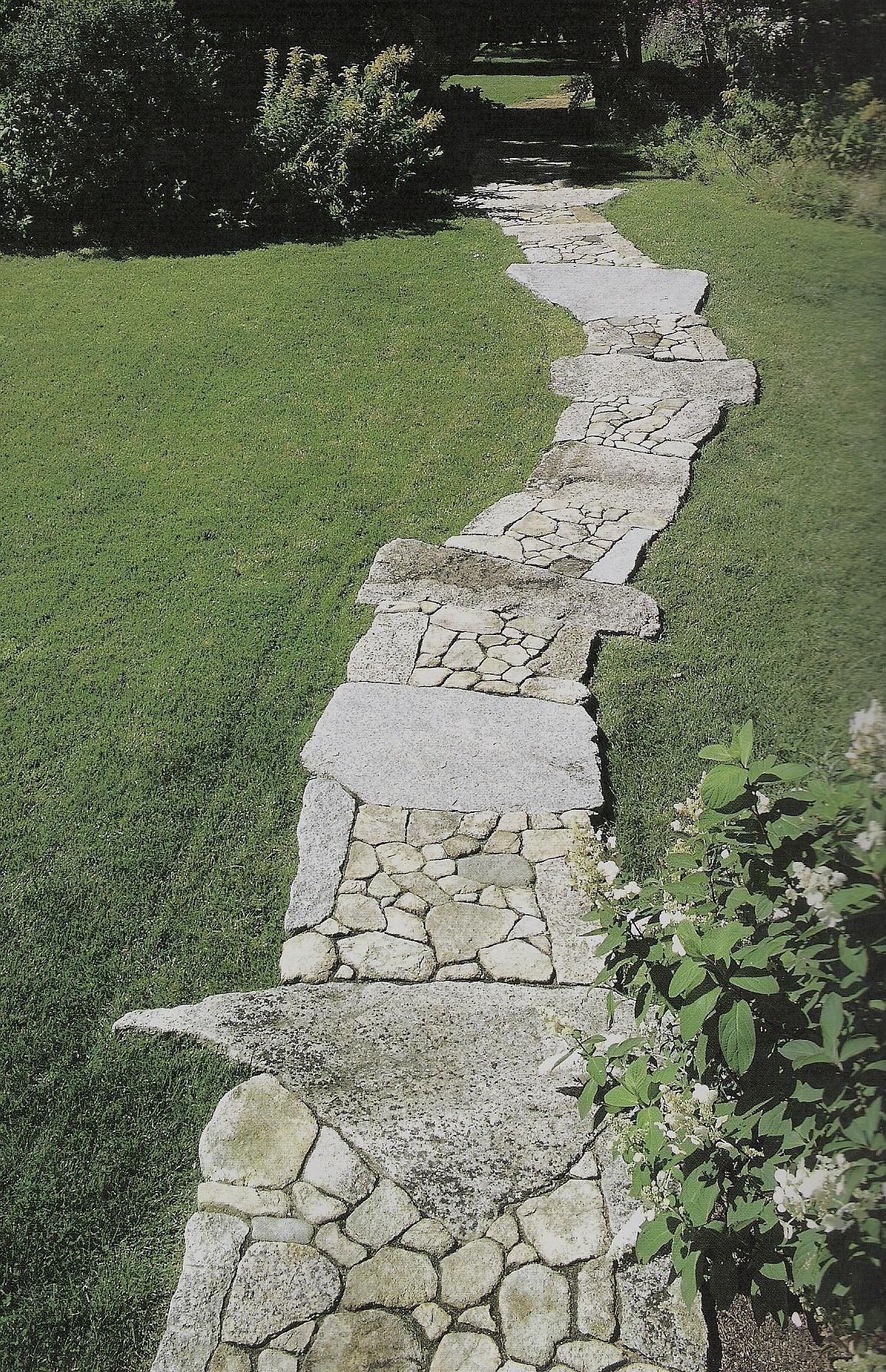Stone walkway walkways by blades of grass lawn care llc for Stone path in grass