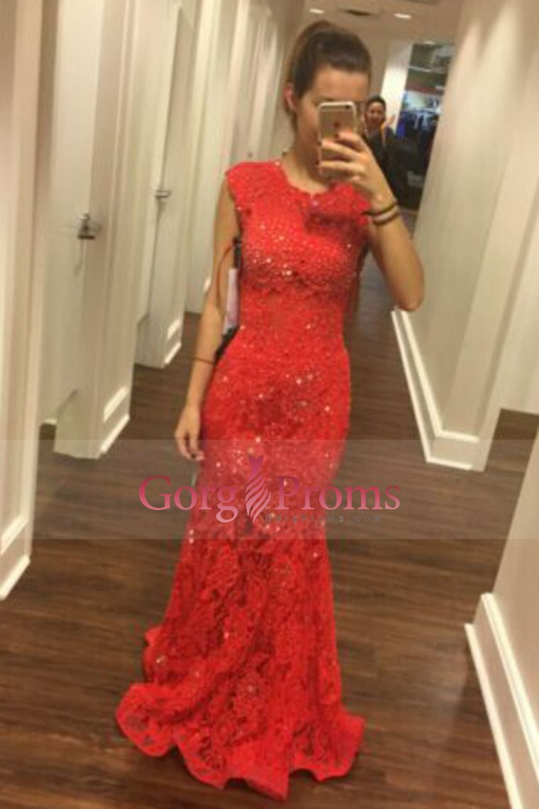 scoop prom dresses mermaid lace with beading sweep train prom
