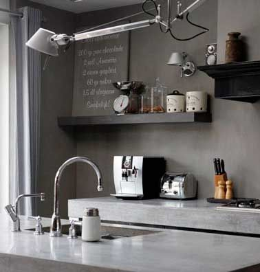 Quelle Couleur Mettre Avec Une Cuisine Grise Cuisines Grises - Beton cire carrelage mural cuisine pour idees de deco de cuisine