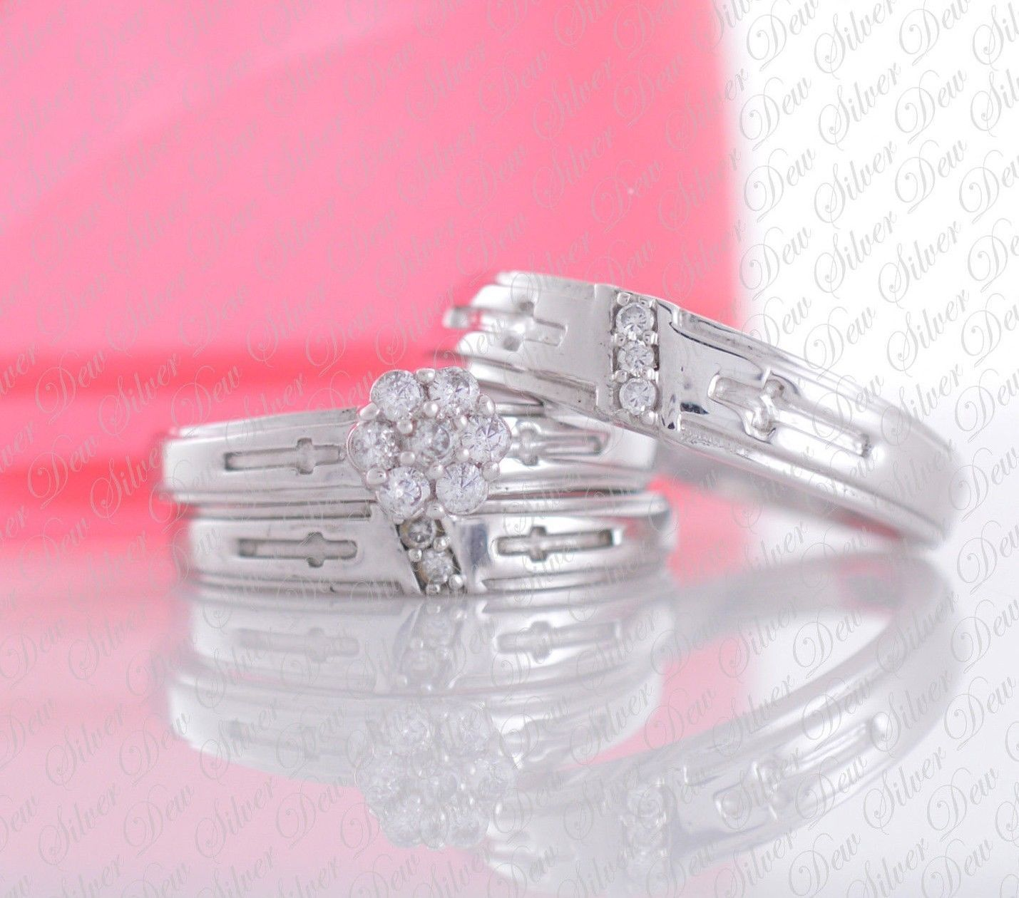 14K White Gold Diamond Bridal Engagement Ring His & Her Trio Wedding ...