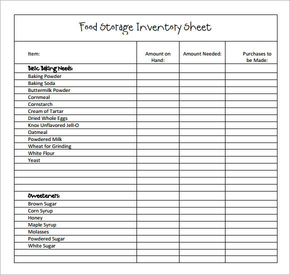 Sample Restaurant Inventory   Documents In Pdf  October