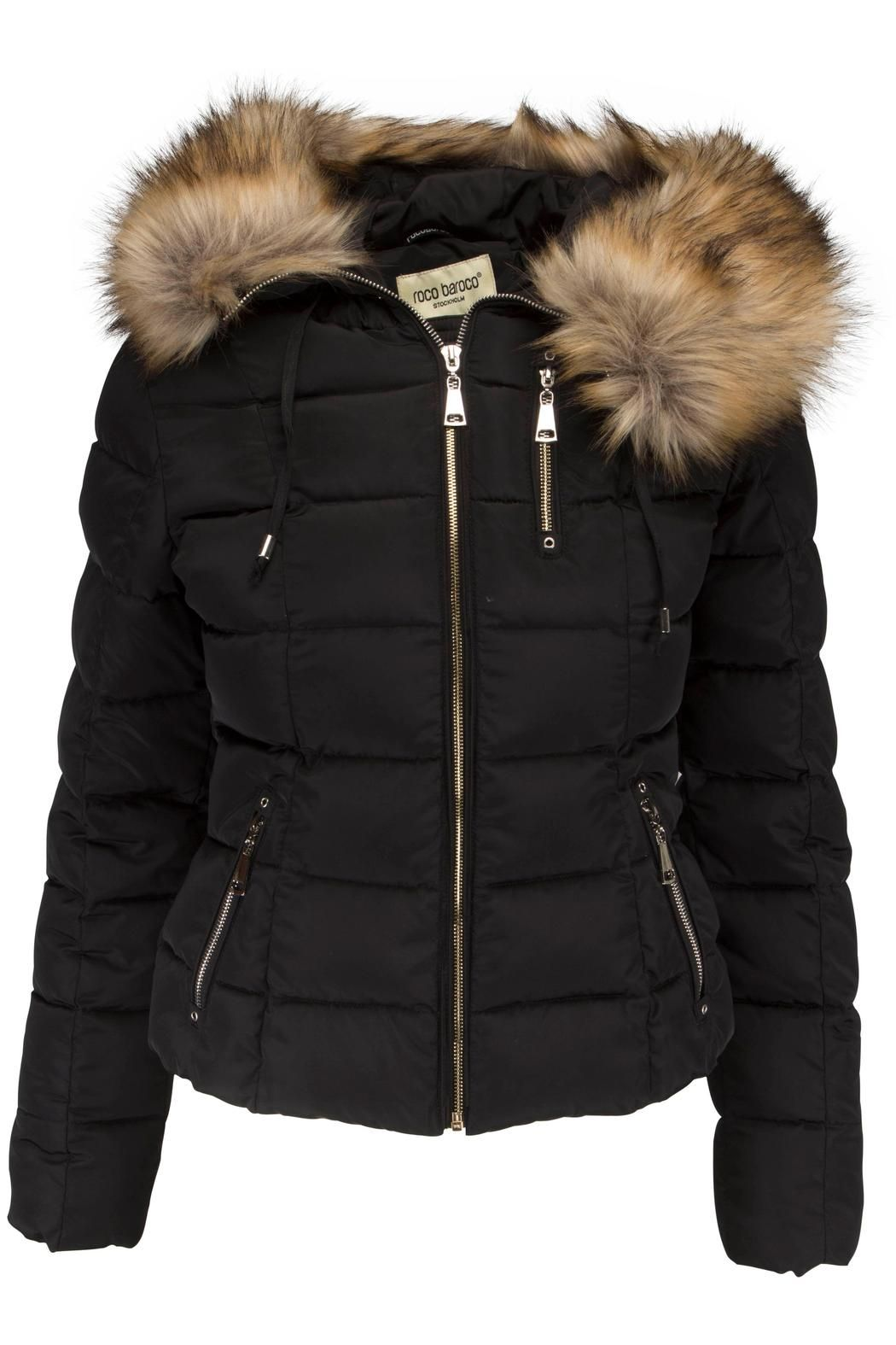 f3f3940035f This is a short down jacket with hood and zippers in gold. The edge of the  hood is covered with removable faux fur. It comes in100% DuPont fiber.