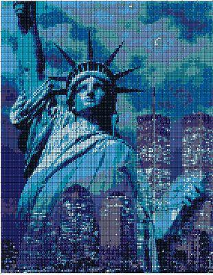 N.129 Counted Cross Stitch Kit Statue of Liberty Punto Croce Statua della Libertà
