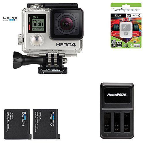 GoPro Hero4 Hero 4 12MP Full HD 4K 30fps 1080p 120fps Built-In Wi-Fi Waterproof Wearable Camera Black Adventure 32GB Power Edition