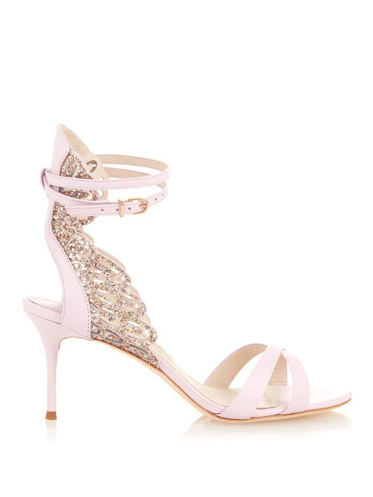 Newest metallic embroidered leather sandals angel wings