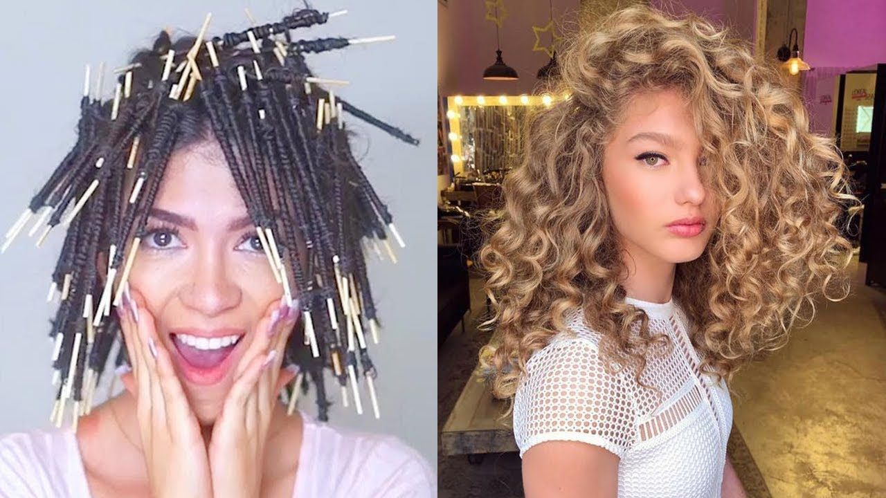 No Heat Straight To Curly Hair Tutorial Compilation Really Curly Hair Curly Hair Styles Curl Hair Without Heat