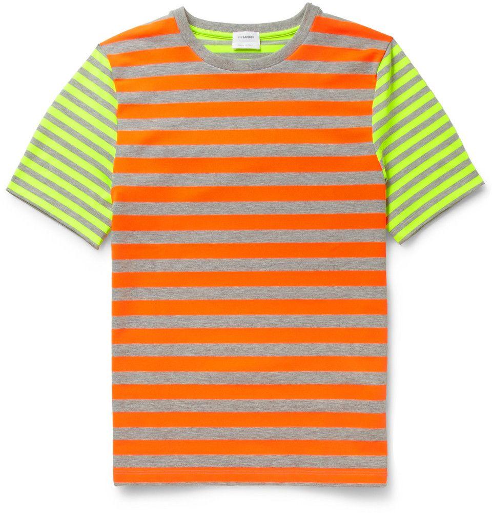 Jil Sander - Fluorescent-Striped Crew Neck T-Shirt|MR PORTER | Get your Daily Style Playlist at Fleur: http://www.shopfleur.co/