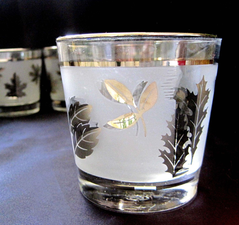 Nice Mid Century Barware, Libbey Rock Glasses, Set Of 6, Retro Gold Leaf Design