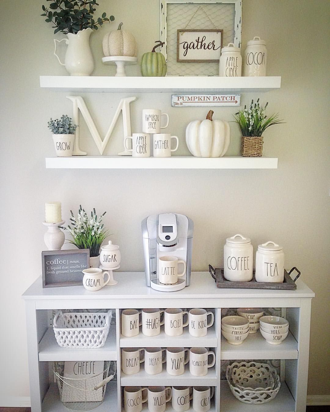 Home Sweet Homedecor Mug Display Farmhouse Shelves Rae Dunn Mugs Canister Target Bookcase Coffee Bar