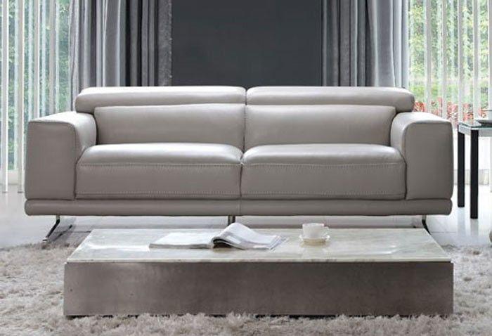 Moroni - Blair Leather Studio Sofa in Ash Grey - 567 ...