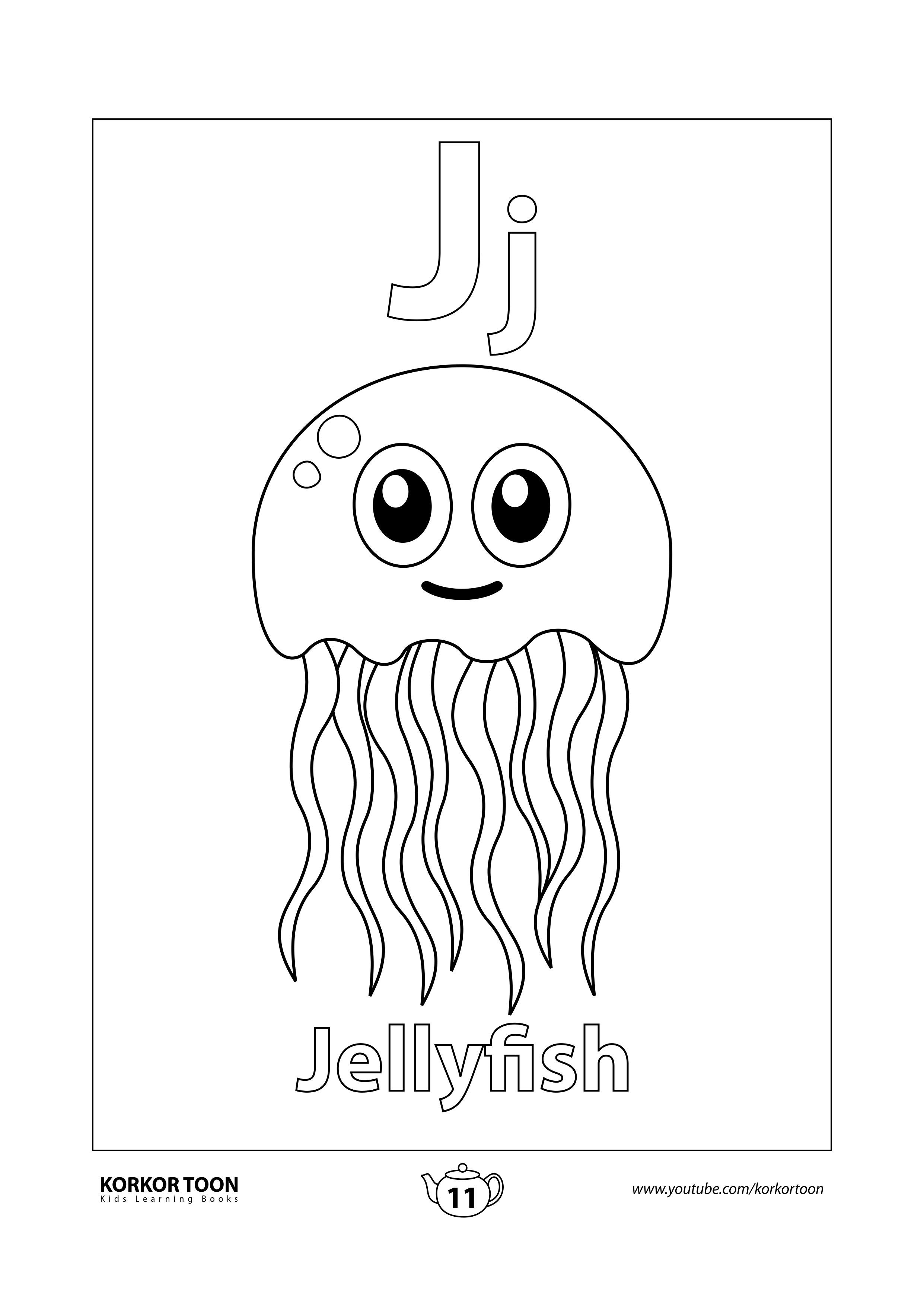 Jellyfish Coloring Page Abc Coloring Book Abc Coloring Coloring Books Kids Coloring Books