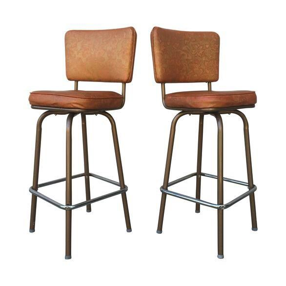 Mid Century Vinyl Swivel Bar Stools A Pair On Chairish