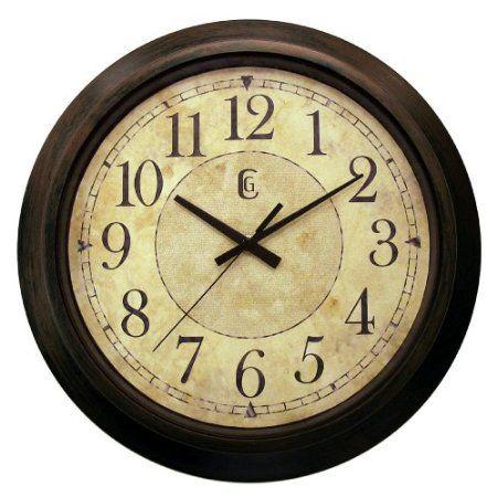 Amazon.com: Geneva 14 Plastic Decorative Wall Clock, Brown: Home ...