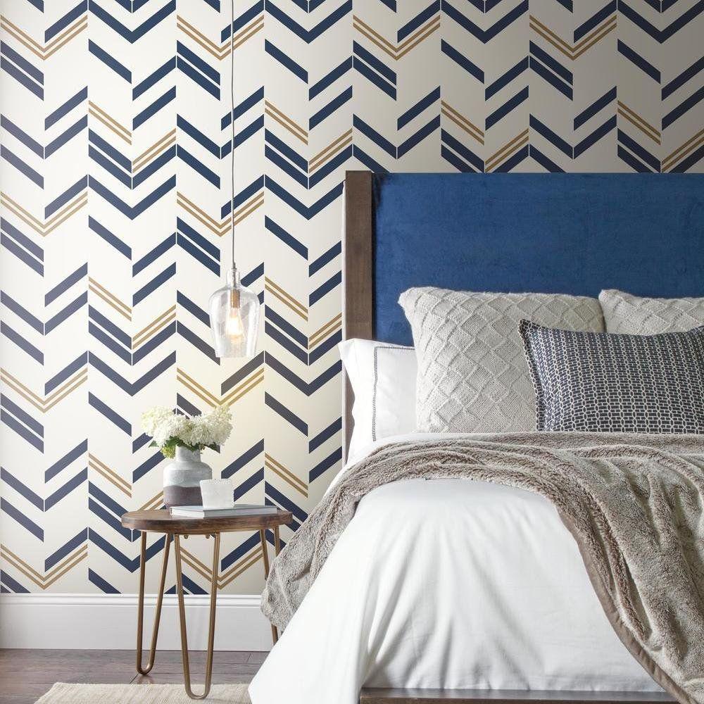 Roommates Blue Chevron Stripe Peel Stick Wallpaper Walmart Com In 2020 Blue Accent Walls Peel And Stick Wallpaper Grey Colour Wallpaper