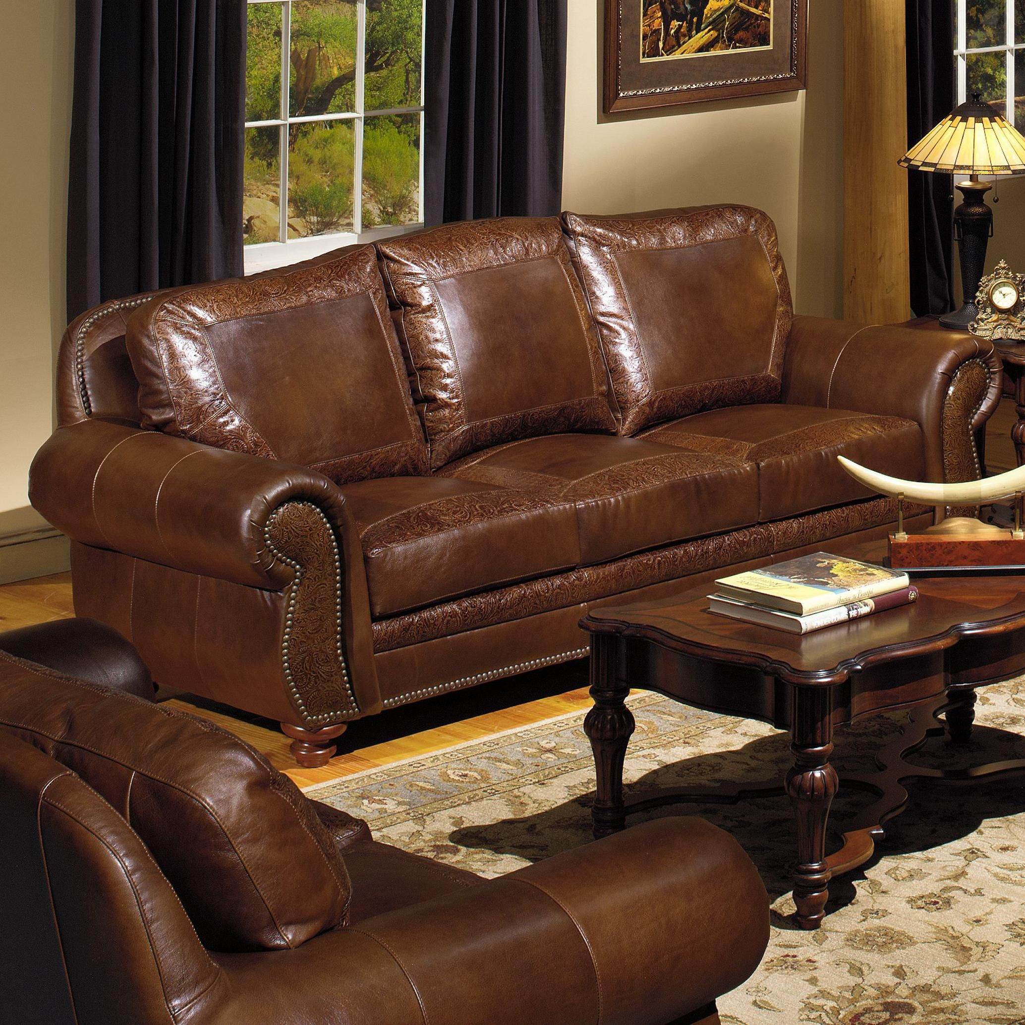 Traditional Living Room Leather Furniture: 8555 Traditional Leather Sofa With Nailhead Trim By USA